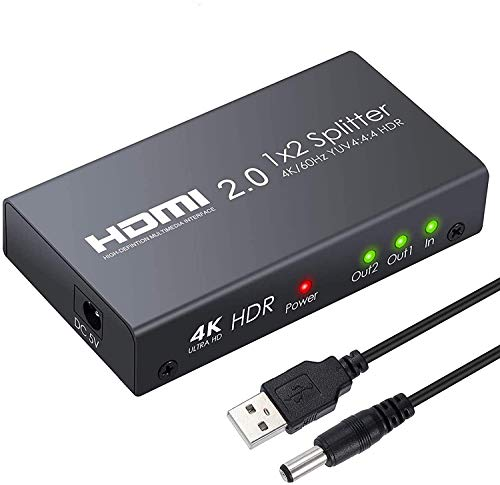 ESYNiC HDMI 2.0 Splitter 2 Vie HDMI Splitter Supporta 4K@60Hz YUV 4:4:4 e HDR 1 In 2 Out HDMI Distribuzione Amplificatore per PS4 Pro Sky Box Blu-ray Player HD TV Videoproiettore