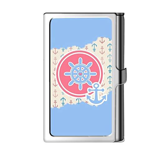 Porta tarjeta de visita con diseño astillado, caja de crédito con nombre de cartera de acero inoxidable para hombres y mujeres-Ancla