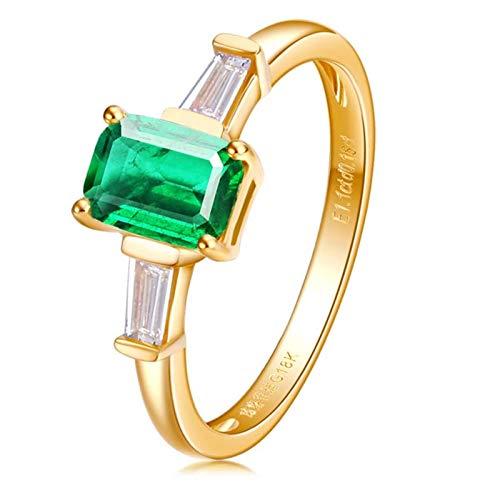 Beydodo Trauringe 750Er Gold 4-Steg-Krappenfassung Rechteck Smaragd 0.6ct Hochzeit Ring Gold für Damen Gr. 62 (19.7)