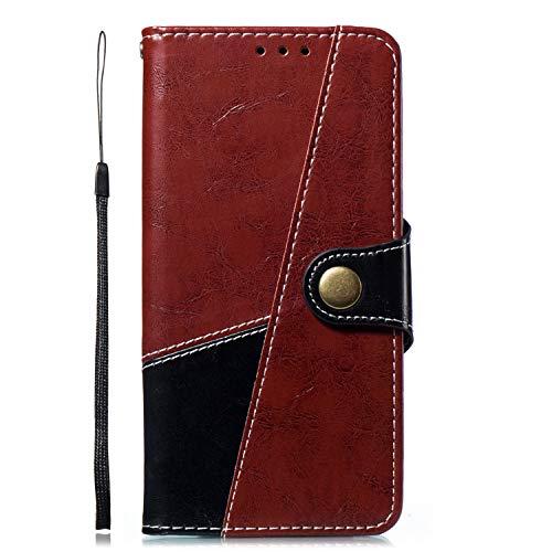 Uposao Kompatibel mit Handyhülle Huawei P20 Handytasche Bookstyle Flip Case Cover Leder Tasche Brieftasche Ledercase Männer Vintage Handy Schutzhülle Klapphülle Lederhülle,Schwarz Rot