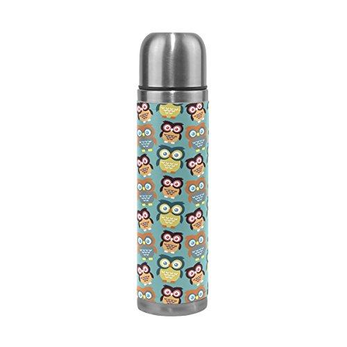 Coosun Hiboux Motif en acier inoxydable flacons Gourde thermos Tasse Anti-Fuite double vide pour bouteilles, cuir PU Voyage thermique Mug, 481,9 gram