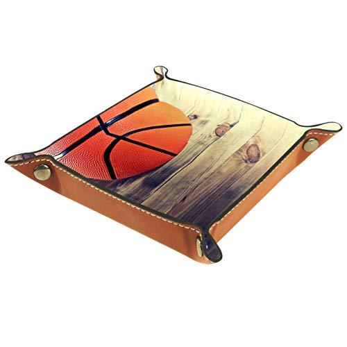 Bandeja de Cuero - Organizador - Pelota de baloncesto retro de madera - Práctica Caja de Almacenamiento para Carteras,Relojes,llaves,Monedas,Teléfonos Celulares y Equipos de Oficina