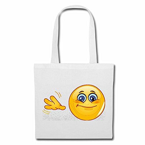 Tasche Umhängetasche WINKENDER Smiley Smileys Smilies Android iPhone Emoticons IOS GRINSE Gesicht Emoticon APP Einkaufstasche Schulbeutel Turnbeutel in Weiß
