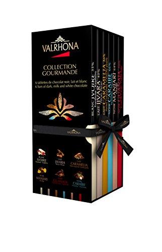 VALRHONA - Schachtel Collection Gourmande 6 Täfelchen - Dunkle Schokolade, Milchschokolade und Blonde Schokolade - Tafel Schokolade - 510g