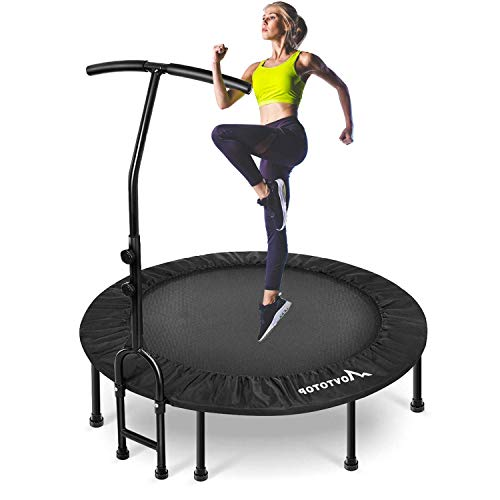 MOVTOTOP Foldable Mini Trampoline Rebounder, Indoor Fitness Trampoline with Adjustable Handrail and Safety Pad, Exercise Trampoline Rebounder for Kids Adults Indoor/Garden Workout (40 inch)