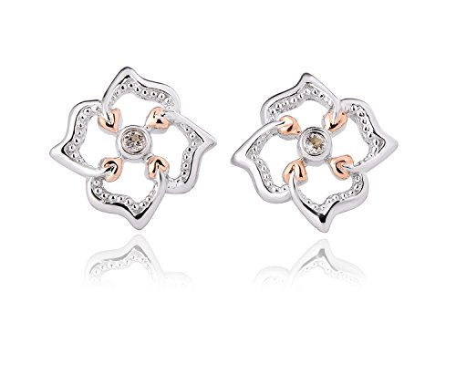 Clogau 925 Sterling Silver and 9ct Rose Gold Tree of Life Flower Stud Earrings