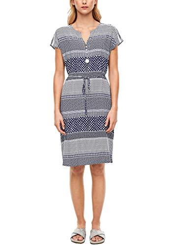 s.Oliver Damen Viskosekleid mit Muster navy stripes AOP 36