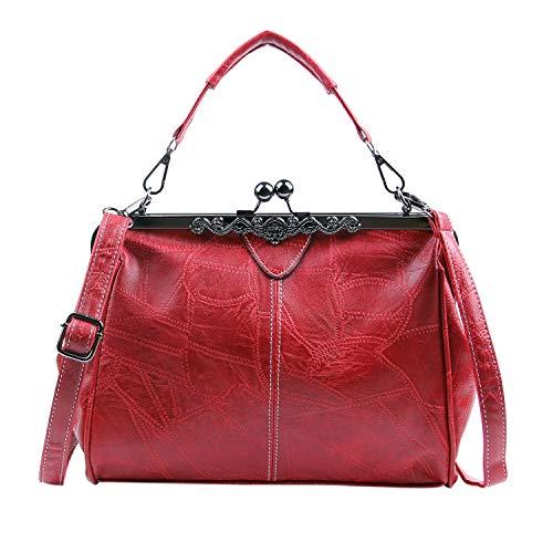 LUI SUI Frauen Retro Handtasche, PU Leder Geldbörse Vintage Top Griff Tasche Kiss Lock Crossbody Umhängetasche für Damen