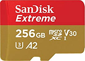 SanDisk 256GB Extreme microSDXC UHS-I Memory Card with Adapter - Up to 160MB/s, C10, U3, V30, 4K, A2, Micro SD -...