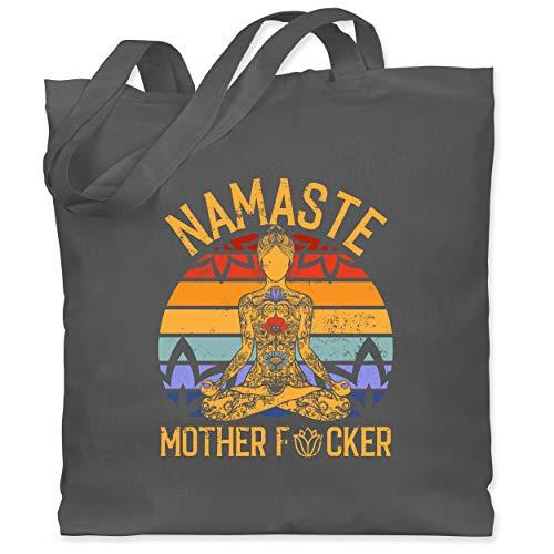 Shirtracer Wellness, Yoga & Co. - Namaste Mother - Unisize - Dunkelgrau - Statement - WM101 - Stoffbeutel aus Baumwolle Jutebeutel lange Henkel