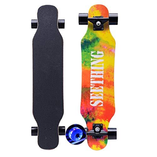 SHIJING guter Pop Skateboard Retro Komplettboard Sports Longboard, fertig montiert ABEC-11 Kugellager 80A Rollenhärte Aluminium-Trucks, für Kinder, Mädchen und Junge