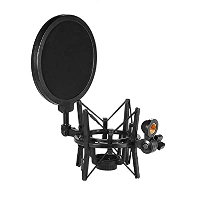 Muslady Plastic Condenser Microphone Mic Shock Mount Holder Bracket Anti-vibration with Pop Filter for On-line Broadcasting Studio Music Recording
