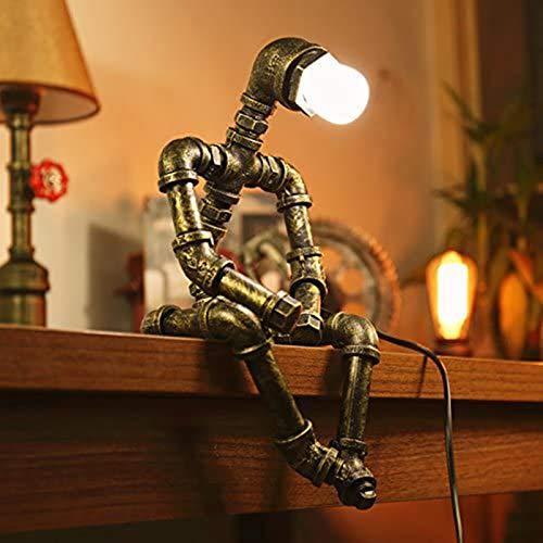 Lámpara de mesa vintage, estilo retro, creativa, industrial, lámpara de mesita de noche con patrón robot para bar, pub, cafetería y restaurante