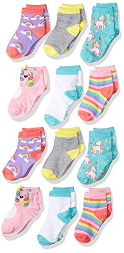 CHEROKEE girls Cherokee 12 Pack Shorty Casual Sock, Double Rainbow Unicorn, 2T-4T US