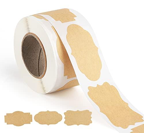 ilauke 300 Stks Kraft Papier Labels Stickers, Kraft Labels Cadeaulabels Stickers in 3 Vormen Afdichtingsstickers voor Essentiële Olie Flessen, Mason Potten, Voedsel Potten en Cadeaudecoratie