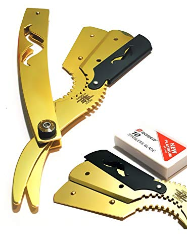 Best Quality Gold Dipped Straight Edge Professional Barber Shaving Knife - All Pupose Cut Throat Shaver
