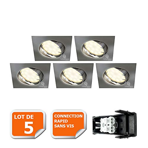 LOT DE 5 SPOT ENCASTRABLE ORIENTABLE LED CARRE ALU BROSSE GU10 230V eq. 50W BLANC CHAUD
