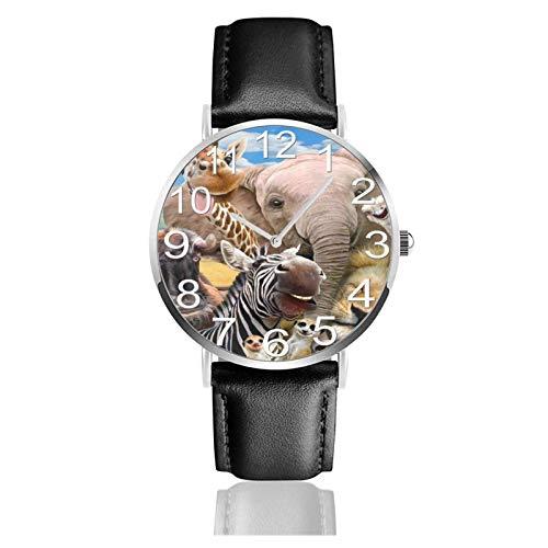 Reloj de Pulsera Elefante Africano Cebra Avestruz Animales Durable PU Correa de Cuero Relojes de Negocios de Cuarzo Reloj de Pulsera Informal Unisex