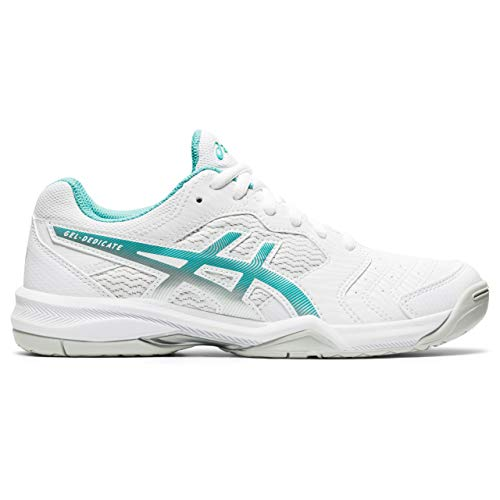 ASICS Damen Gel-Dedicate 6 Tennisschuh, White Techno Cyan, Numeric_40_Point_5 EU