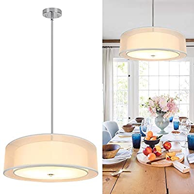 Depuley 3-Light Double Drum Pendant Light, Semi-Flush Mount Drum Ceiling Light Fixture for Kitchen Island Dining Room Bar, Modern Ceiling Hanging Lights Adjustable Height Pendant Lighting