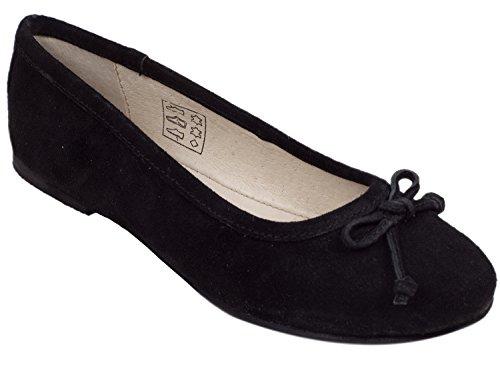 Isar-Trachten Kinderballerina schwarz klassisch bequem rutschfeste Sohle 60312 (32, schwarz)