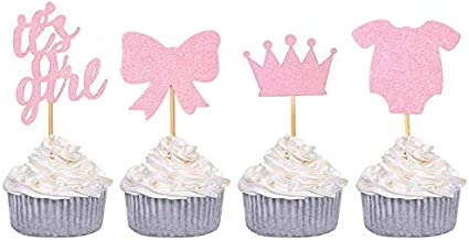 Baby Shower Cupcake Toppers for Girl, Since1989 24 Pack Baby Shower Cake Cupcake Toppers Picks for Party Decoration Suppli...