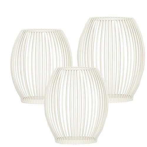 Queta, set di 3 candelabri ovali, portacandele in metallo, decorazione per compleanno, Natale (bianco)