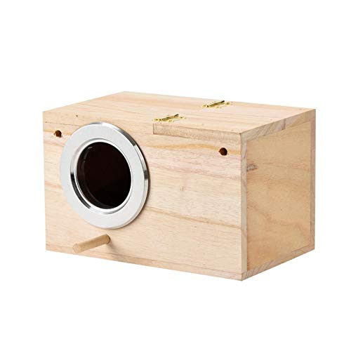 Sittich Nistkasten Lovebirds Papageien Paarung Box Vogelhaus Wood Breeding Box Großes Kreatives Wandbehang-hölzernes Vogelnest Garten Deko, 12 x 12 x 19.5 cm (Khaki)