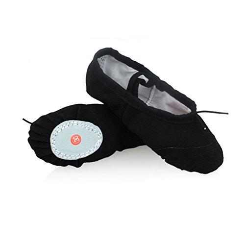 DoGeek Transpirable Zapatos de Ballet Zapatillas de Ballet de Danza Baile para Niña (37 EU, Negro)
