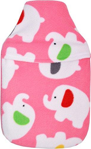 Knuffel Pluche Fleece Roze Olifanten Ontwerp 2L Hot Water Fles & Cover