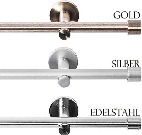 Rollmayer Metall Gardinenstange Ø 16mm Rohr, Antik Gold für Ösenvorhang Gardinen Vorhang (Crux 160cm lang, Gold, 1-läufig) einfache Montage Modern Vorhangstange Ohne Ringe!