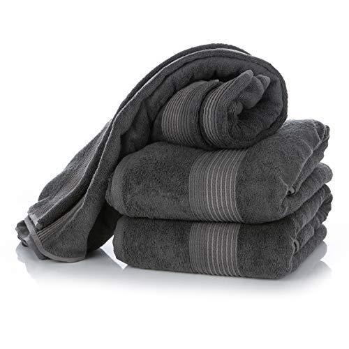 Wunderwuschel Duschtuch XL 80x140cm aus Bambus-Viskose (60%) und Baumwolle (40%) - 510g/m² Uni Farben in Grau Anthrazit, Badetuch oder Strandtuch in Hotelqualität mit Schlaufe für Handtuchhalter