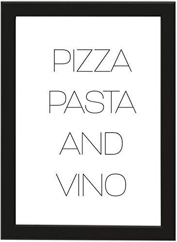 PICSonPAPER Poster DIN A4 Pizza, Pasta and Vino, gerahmt mit schwarzem Bilderrahmen, Geschenk, Geschenkidee, Geburtstagsgeschenk, Poster mit Rahmen, Kunstdruck, Typographie (Pizza)
