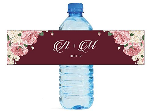 Boho Floral Wedding Water Bottle labels Engagement Party Birthday