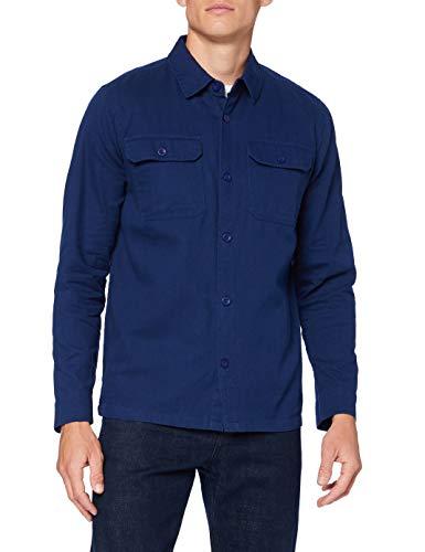 Marchio Amazon - find. Camicia in Cotone Uomo, Blu (Navy), S, Label: S