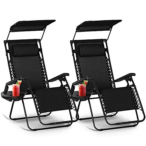 KEPLIN Set of 2 Heavy Duty Textoline Zero Gravity Chairs