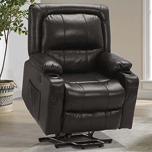 B BAIJIAWEI Power Lift Recliner Chair - Breath Leather Electric Recliner for Elderly - Heavy Duty Reclining Chair with Side Pockets, USB Charge Port & Massage Remote Control (Brown)