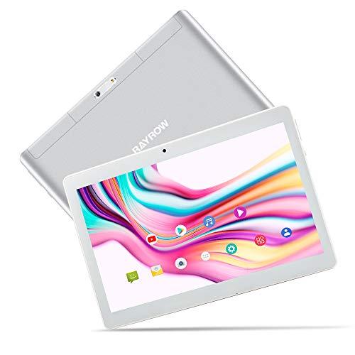 RAYROW Tablet 10,1-Zoll-Tablet-Pad, Android 8.1-Quad-Core, 2GB RAM, 64GB (32G ROM + 32G TF), Dual-SIM-Kartensteckplatz, Dual-Kamera-Tablets mit 5 MP, GPS, Bluetooth, Google Play, HD IPS (Weiß)