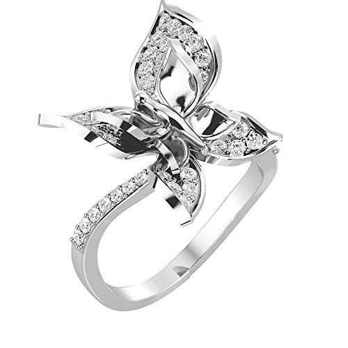 VVS Anillo de diamante de mariposa certificado de oro blanco de 18 quilates, oro amarillo/oro rosa con forma redonda de 0,67 quilates de diamantes naturales para mujer