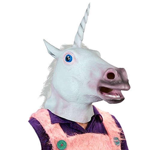 2015 - Best seller Accoutrements Magical Unicorn Mask Mask Latex Animal Costume Prop Gangnam Style