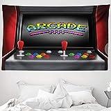 ABAKUHAUS Videojuegos Tapiz de Pared y Cubrecama Suave, Consola Arcade Videojuego Retro Diversión Joystick Botones Vintage 80's 90's, Resistente a la Suciedad, 230 x 140 cm, Multicolor
