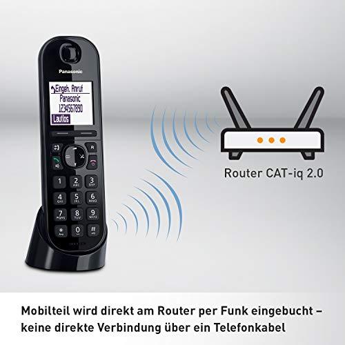 Panasonic KX-TGQ200GB DECT IP-Telefon (schnurlos, CAT-iq 2.0 kompatibel, Freisprechmodus, Anrufersperre, Eco-Plus, digitales Telefon) schwarz