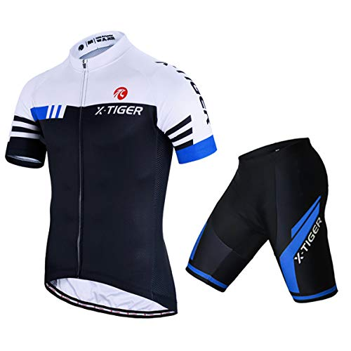 X-TIGER Men's Summer Short Sleeve Cycling Suits Set Cycling Jersey with 5D Gel Padded Shorts Coolmax Bib Shorts Bicycle Team Clothing Cycling Set(A16,XXL)