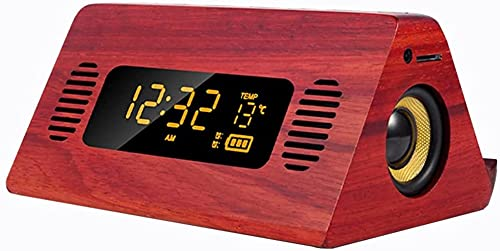 ASDF Reloj Despertador de Carga inalámbrica Madera Digital Junto a la Cama Puerto de Carga USB Radio FM 4.2 Llamadas de Voz Bluetooth Tarjeta TF de Audio Termómetro de repetición