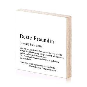 Beste Freundin personalisiertes Holzbild 15×15 zum Hinstellen oder Aufhängen als Geschenk-Idee zum Geburtstag…