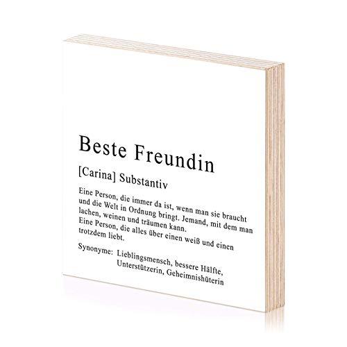 Beste Freundin personalisiertes Holzbild 15x15 zum Hinstellen oder Aufhängen als Geschenk-Idee zum Geburtstag Geburtstagsgeschenk Wand-Bild Kunstdruck