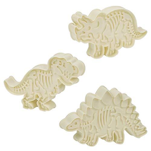 Kurtzy Dinosaurier Skelett Ausstechformen Set (3er Pack) - Weiße Acryl Triceratops, T-Rex und Stegosaurus Ausstecher Set für Kuchen Dekorieren, Gebäck, Fondant, Keksausstecher für Kinder