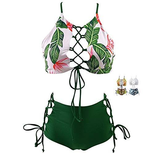 GIRL AND SEA Women Two Piece Bikini High Waist Tankini Backless Leaf Bathing Suit Set Green 3XL