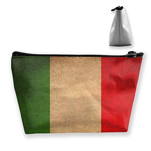 Bolso cosmético de Viaje multifunción - Vintage Italiano Bandera trapezoide Maquillaje Organizador artículos de tocador Monedero de Pulsera