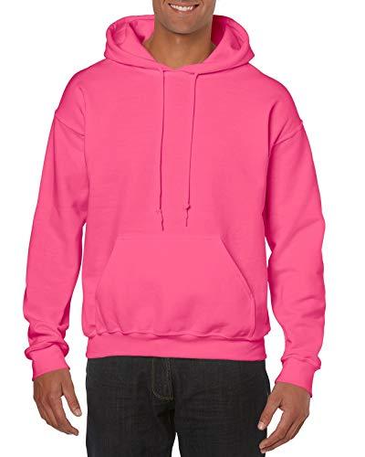 Gildan Schwerer Stoff Kapuzenpulli - Sicherheits pink, Medium